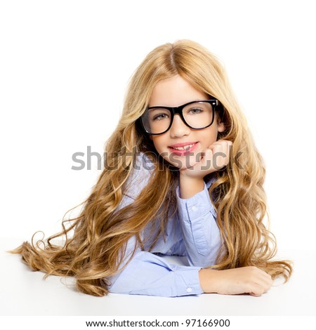 blond fashion kid girl with glasses portrait isolated on white - stock photo