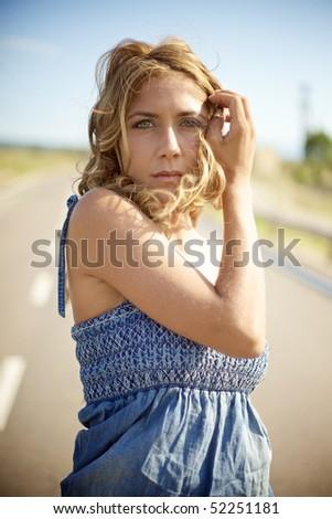 Blond fashion woman - stock photo