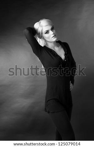 blond female fashion model posing - stock photo