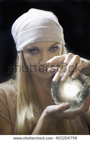 blond female fortune teller