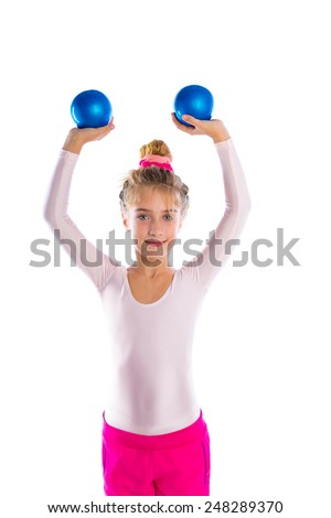 blond fitness kid girls exercise workout with sand balls on white - stock photo
