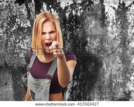 blond girl angry expression