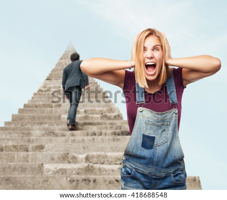 blond girl angry expression - stock photo