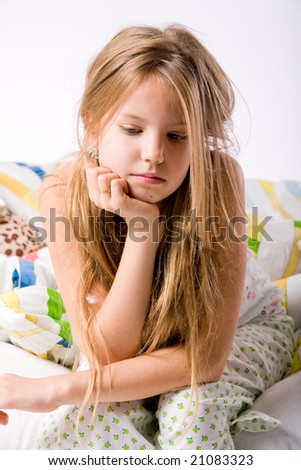 Blond girl depressed
