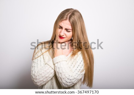 Blond Girl has a sore throat, isolated