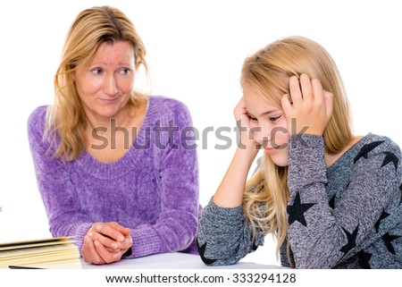 blond girl has problems with the homework  - stock photo