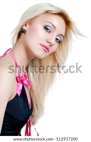 blond girl in a dress on a white background - stock photo