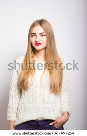 blond girl smiling with red lipstick, isolated - stock photo