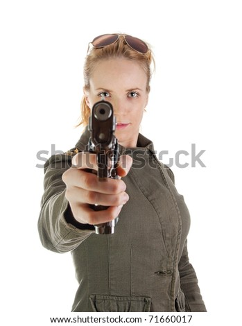 Blond girl with gun and sunglasses - stock photo