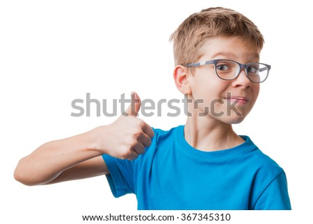 Blond hair boy in glasses showing thumbs up gesture, isolated on white background - stock photo