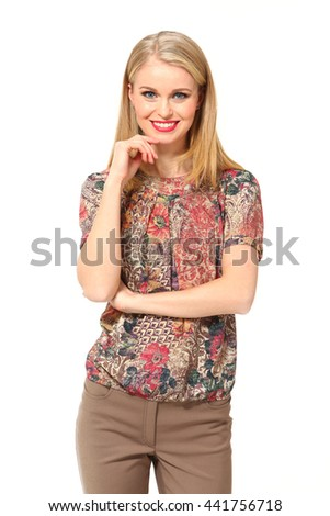 blond  hair business executive woman with straight hair style in casual print floral blouse close up smiling portrait isolated on white
