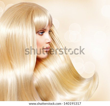 Blond Hair. Fashion Girl With Healthy Long Smooth Hair. Beauty Blonde Woman Portrait. Hair Extensions