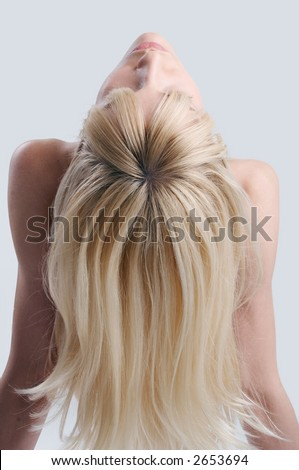 blond hair from the back - stock photo