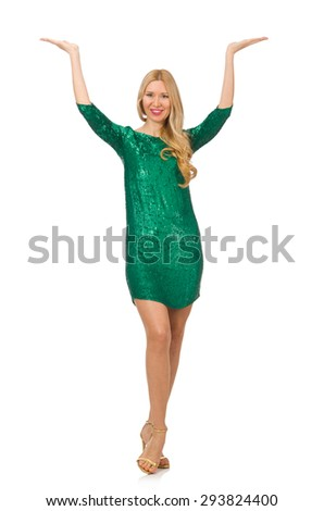 Blond hair girl in sparkling green dress isolated on white - stock photo