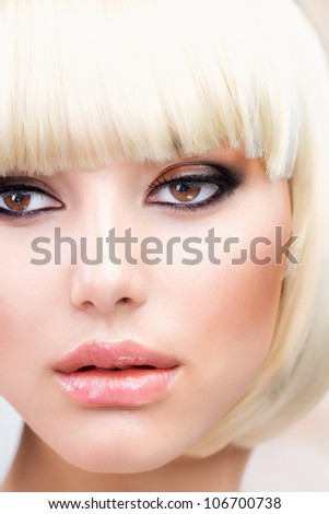 Blond Hair.Haircut. Beautiful Girl with Healthy Short Hair. Hairstyle - stock photo