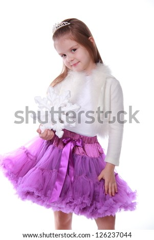 Blond hair smiley european little girl on Beauty and Fashion theme