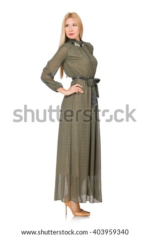 Blond hair woman in long green dress isolated on white - stock photo