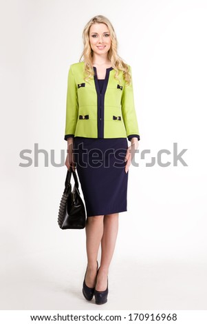 Blond haired business woman isolated on white
