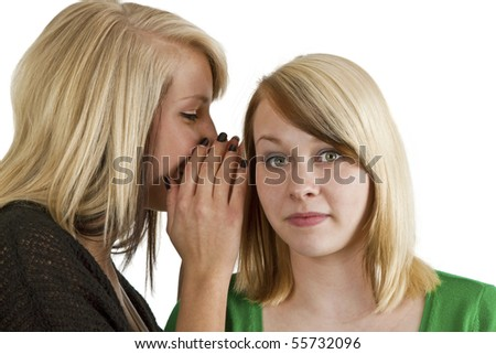 Blond  haired girls gossip isolated over white background