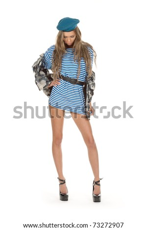 blond in seaman dress and camouflage - stock photo