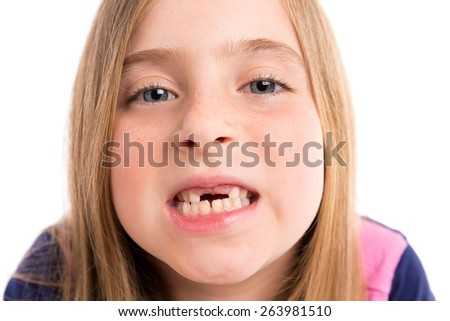 Blond indented girl showing teeth portrait funny expression on white background - stock photo