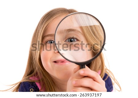 Blond indented girl with eye in magnifying glass funny expression on white background