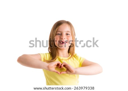 Blond indented kid girl hearth shape fingers smiling gesture on white background - stock photo