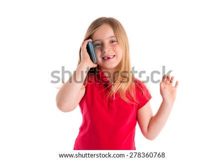 blond indented kid girl smiling talking smartphone phone on white background - stock photo