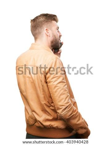blond man back  - stock photo