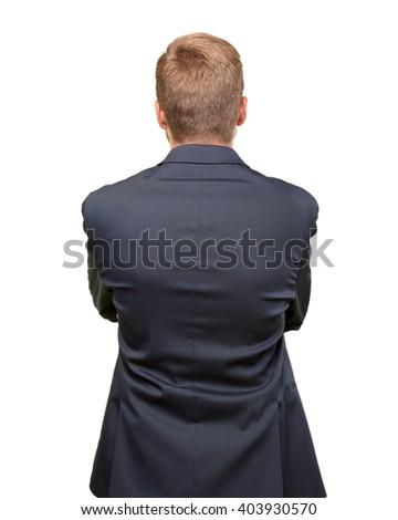 blond man back pose  - stock photo