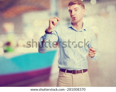 blond man dancing - stock photo