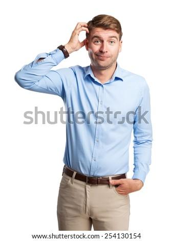 blond man doubting - stock photo