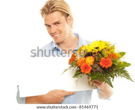 blond man with flowers