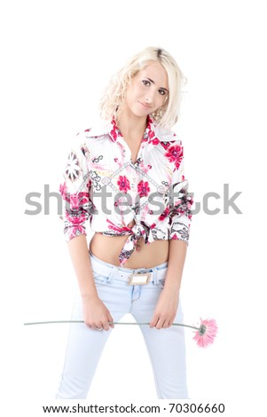 Blond model wearing a color shirt on a white background