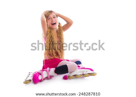blond pigtails roller skate girl sitting laughing happy on white background - stock photo