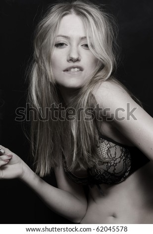 blond sexy women in bra smoking