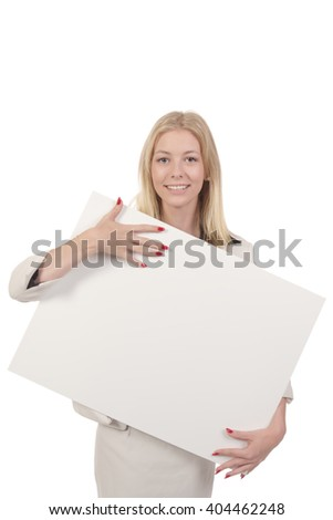 Blond smiling woman in white business suit hugging white board in her hands isolated on white - stock photo