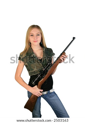 Blond teenage girl with rifle and camo - stock photo