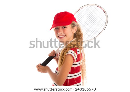 Blond tennis player girl with pad and red cap smiling on white background - stock photo