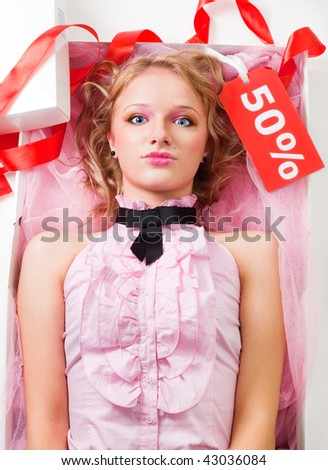 Blond woman doll in box with sale tag