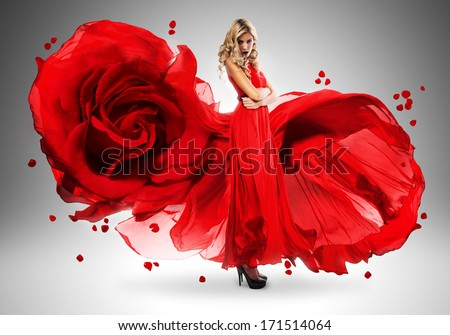 blond woman in long beautiful rose dress - stock photo