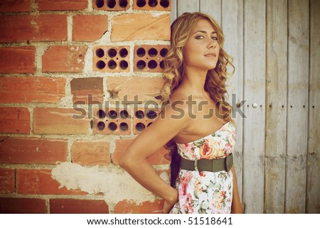 Blond woman looking at camera