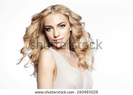 Blond woman on white background