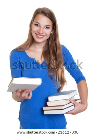 Blond woman showing her favorite book - stock photo
