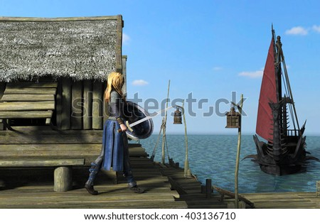 Blond woman Viking warrior with sword and shield - 3D rendering