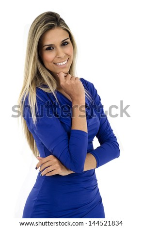 Blond woman with blue dress