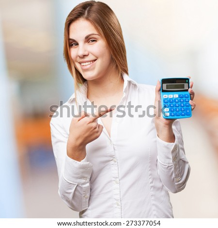 blond woman with calculator