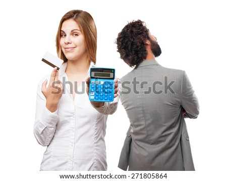 blond woman with calculator and credit card - stock photo