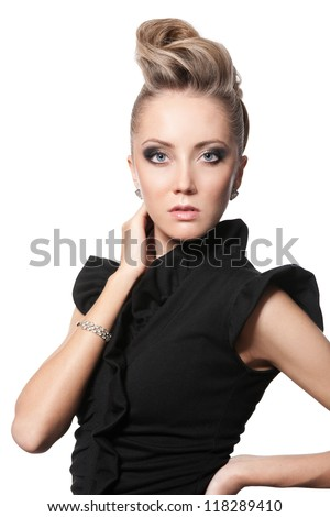 blond woman with fashion hairstyle, isolated on white - stock photo