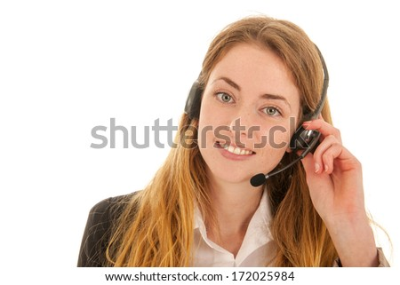 Blond woman with headset for customer support on the phone isolated over white background - stock photo